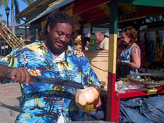 Falmouth Food Tour-Coconut being prepared for drinking-Falmouth Heritage Walks